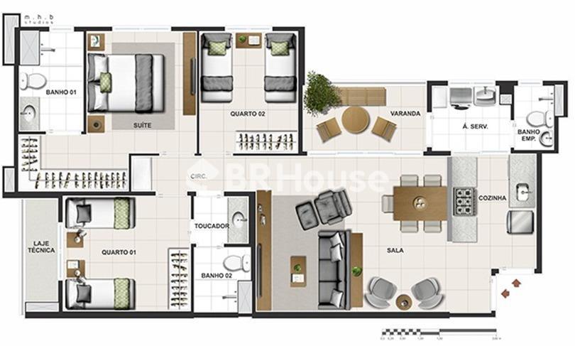 Reserva Parque Clube – Apartamentos 2 e 3, 96,71 m² a 185,04 m² à venda em Águas Claras – Planta 2 quartos 67,56 m²