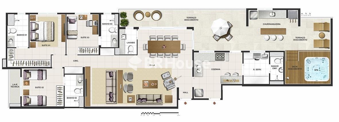 Reserva Parque Clube – Apartamentos 2 e 3, 96,71 m² a 185,04 m² à venda em Águas Claras – Planta 3 quartos 185,04 m²