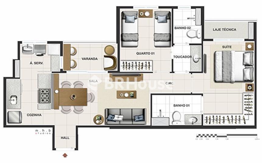 Reserva Parque Clube – Apartamentos 2 e 3, 96,71 m² a 185,04 m² à venda em Águas Claras – Planta 3 quartos 96,61 m²