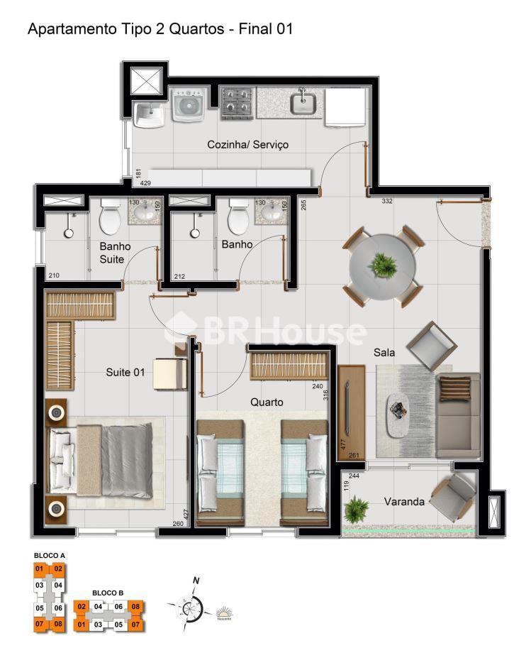 Vivance Clube de Morar  – Planta 2 quartos com suíte – 59,59 m²