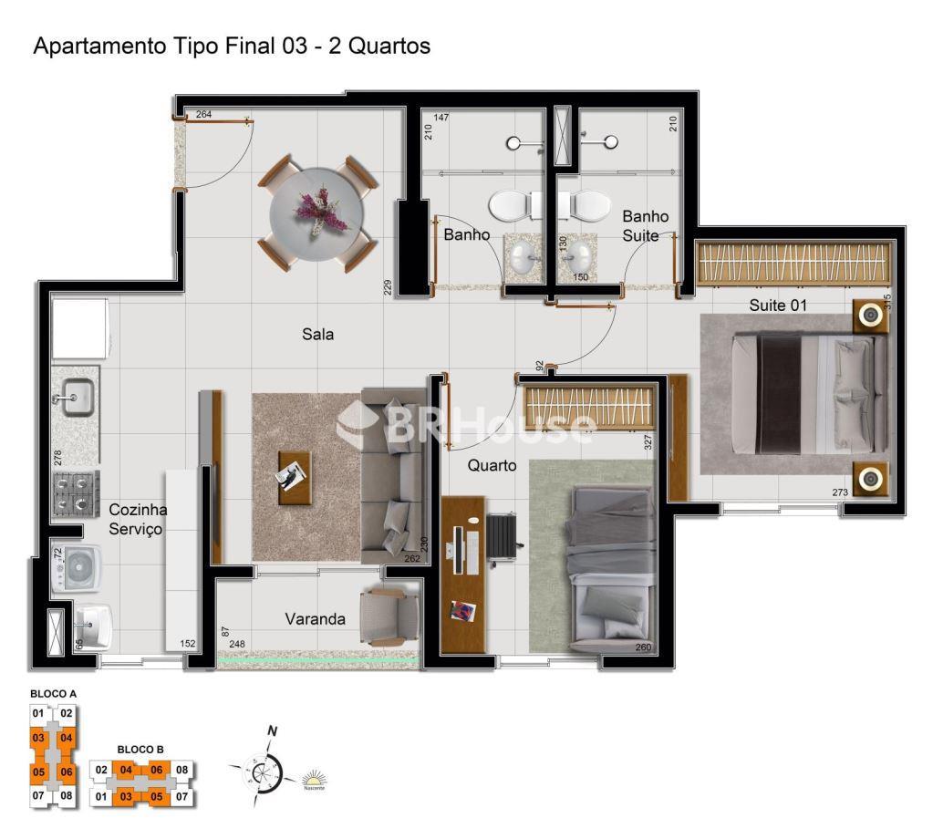 Vivance Clube de Morar – Planta 2 quartos com suíte – 60,36 m²